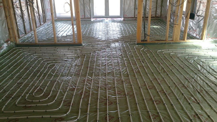 Underfloor heating installed with spiral pattern at 150mm centres